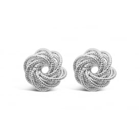 Knot Cluster Imitation Rhodium Earrings.