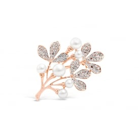 Rose Gold Plated Leaf Flower Brooch with Cream Faux Pearls and Crystal Stones.