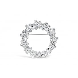 Circular Flower Rhodium Plated Brooch with Czech Crystal Stones.
