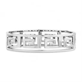 Continuous Square Design Silver Plated Chunky Bracelet.