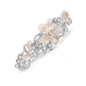 PACK OF THREE 6cm Crystal Stone Flower bar-shaped clips.