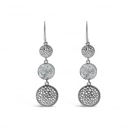 Imitation Rhodium Earrings Triple Drop Pendants.