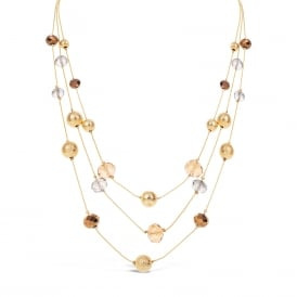 Stunning Autumnal Necklace with Beading detail and Fine Gold Plated Multi Chain.