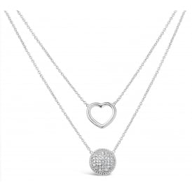 Beautiful Shiny Silver Rhodium Plated Double Layered Heart Necklace