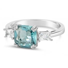 Beautiful Rhodium Plated Aqua Cubic Zirconia Ring