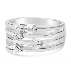 Gorgeous Rhodium Plated Statement Ring with Cubic Zirconia Stones
