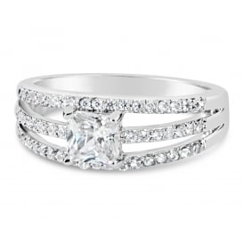 Elegant Rhodium Plated Cubic Zirconia Ring