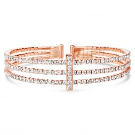 Rose Gold plated expandable glass crystal Bracelet .