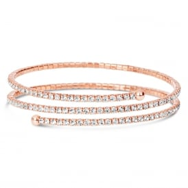 Rose gold plated wrap style expandable bracelet .