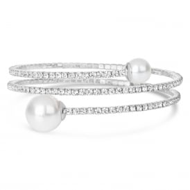 Rhodium plated expandable glass crystal Bracelet with pearl ball .
