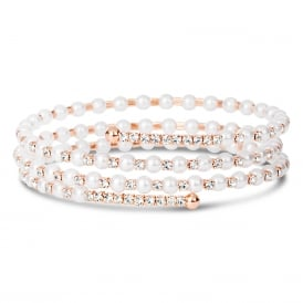 Rose gold plated coil bracelet with pearl and crystal detail.