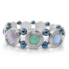 Price for Pack of Two. Magnetic Hematite Bracelet with Pastel Stones.