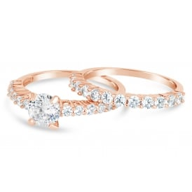 Set of two.Rose Gold Plated Cubic Zirconia Ring