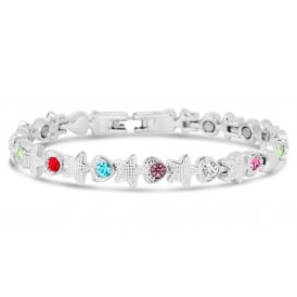 Star design Magnetic bracelet with silver plating and coloured stones.