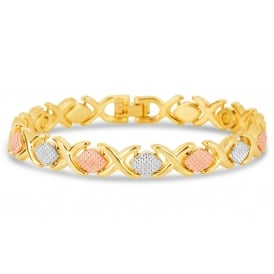 Magnetic bracelet with mixed gold,rose gold and silver plating.