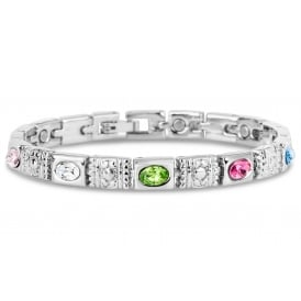 Lovely new magnetic bracelet design with silver plating and coloured stones.