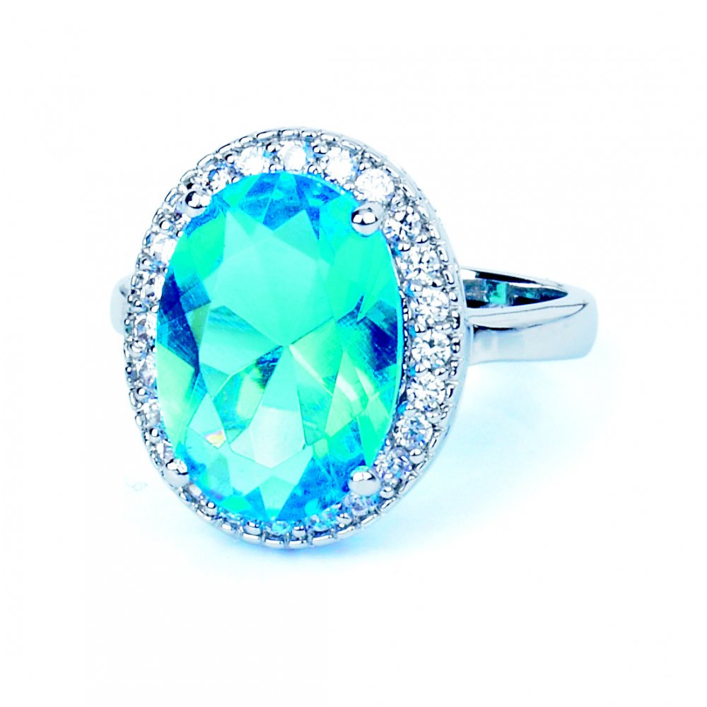 Rhodium plated cubic zirconia ring with large light blue oval shaped